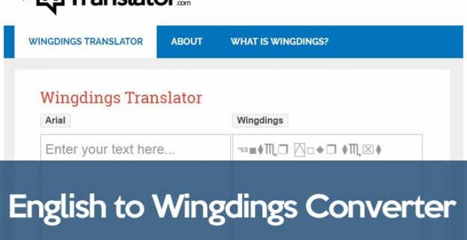 English to Wingdings Converter