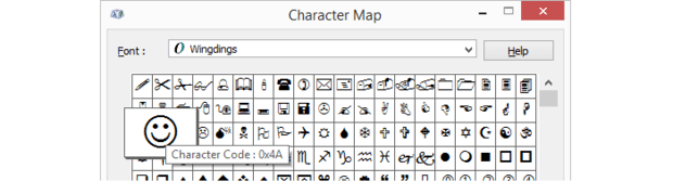 Wingdings char map