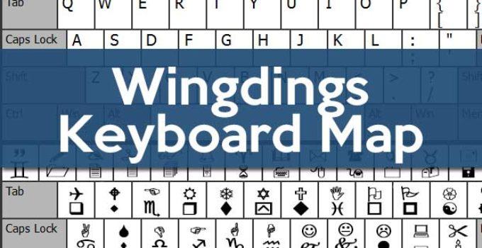 Wingdings Keyboard Map Cheat Sheet